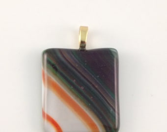 Green, orange and white multi-stripes fused glass pendant