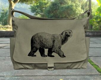 Olive canvas messenger bag men messenger bag women canvas satchel cross body bag, adult diaper bag travel bag screen print womens gift