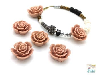 6 resin Rosybrown 8x18mm (ps86) flower beads