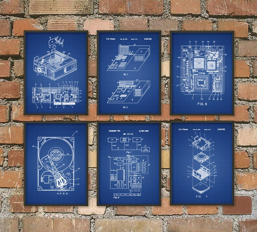 Computer patent wall art poster set of 6 computer room home zoom malvernweather Images