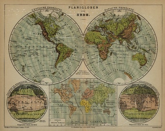 Antique Lithograph Orignal dated 1887 Globes  Planigloben  Fold out