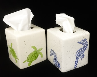 Tissue Box. Sea Turtle Tissue Box, Ceramic Pottery. Sea. Turtle. Circle. Handmade by Sara Hunter Designs.