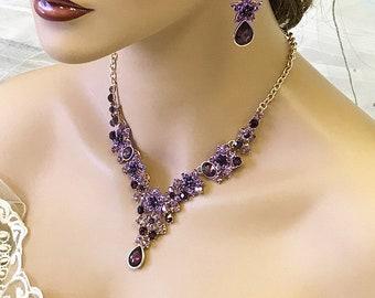 Bridesmaid jewelry set, Bridal jewelry, Wedding  jewelry set, Marsala crystal Necklace earrings, purple jewelry set, Bridal Gold jewelry set