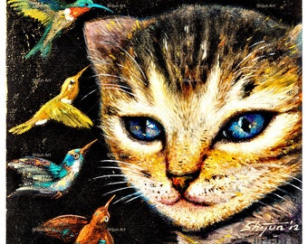 Art print, Cat print, Cat with Humming birds, giclee print on paper or canvas by Shijun Munns-Art gift-Oil painting print