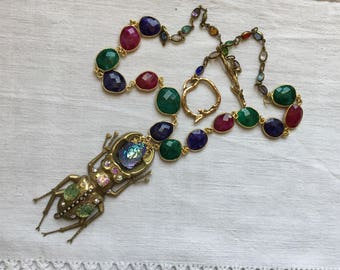 SOLD,Vintage statement egyptian necklace,Gold scarab,  Art Nouveau stamping ,rhinestones, pearls, rare Schiapparelli ab mountain  cab