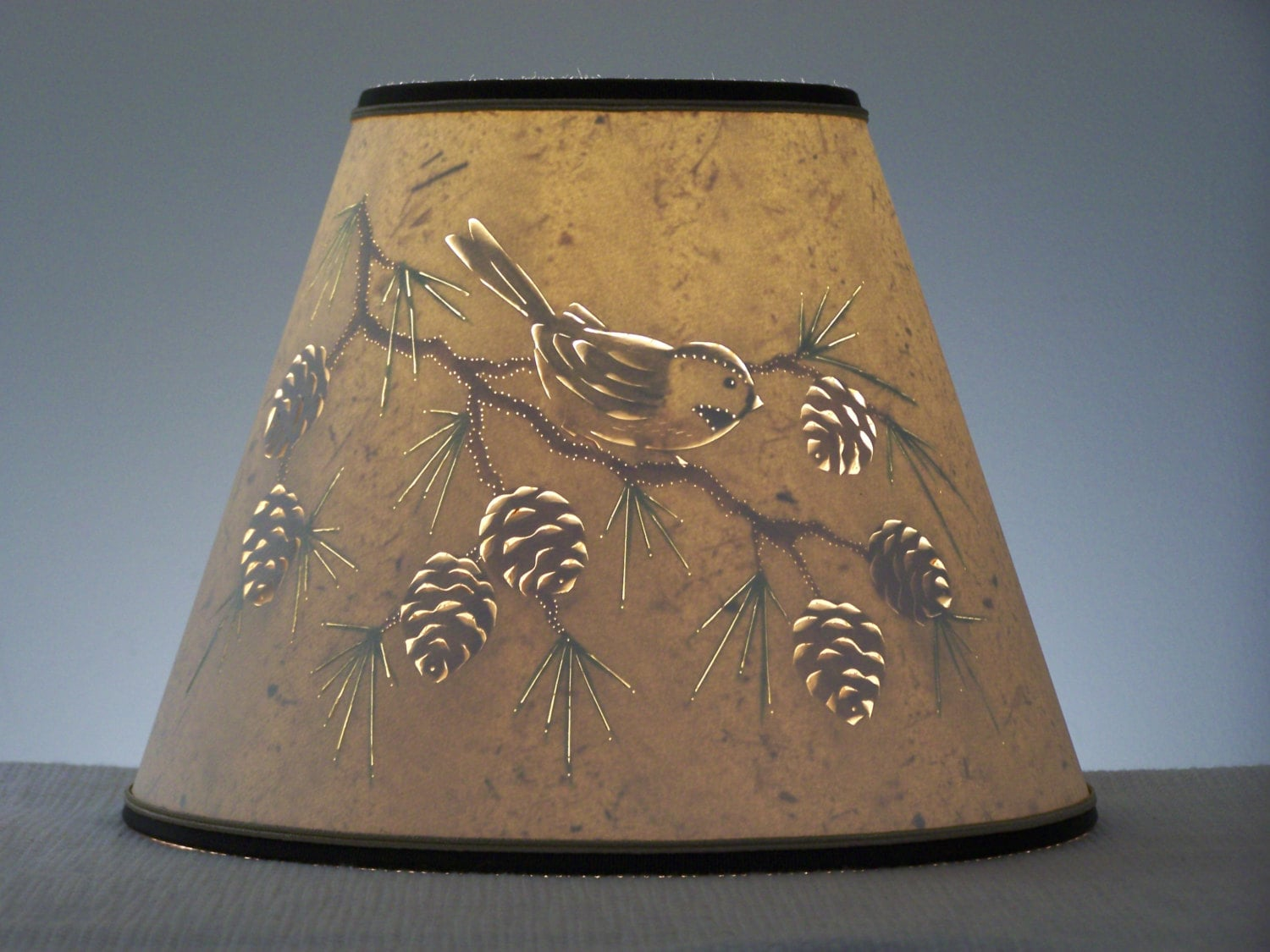 Pine cone chickadee lamp shade clip on lamp shade pine zoom mozeypictures Choice Image