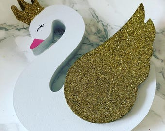 Swan, wooden swan, babys room, baby girl, 1st birthday gift, christening gift, christmas gift, baby shower, present, babys bedroom gifts