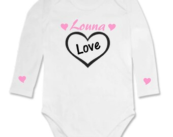 Love onesie with heart personalized with name