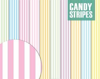 SALE * Candy Stripes Paper Pack - Digital Scrapbooking Printable for Crafting - Clipart - Instant Download - Pastel