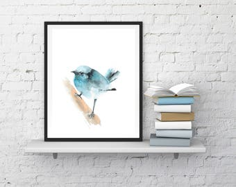 Minimalist Bird Print, Blue Bird Fine Art Print from Watercolor Painting, Bird Giclee Print, Bird Art