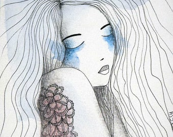 """Illustration ink and watercolor drawing """"sleeping 1"""""""