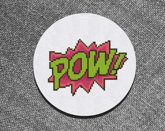 Cross Stitch Pattern Pow Comics text Instant Download PDF Counted Chart