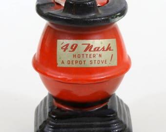 "Vintage Ashtray, '49 Nash Depot Stove, RARE, with Lid,1940's, 4.5"" Tall"
