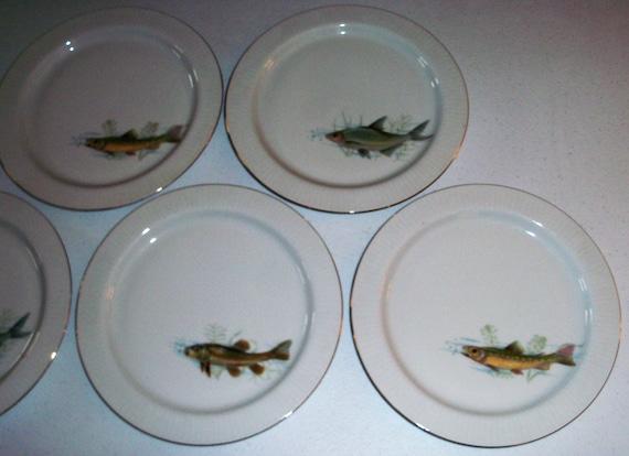 Scherzer Bavaria Germany Antique Set Of 5 Plates With Fish Designs & Scherzer Bavaria Germany Antique Set Of 5 Plates With Fish