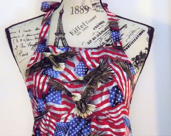 American Flags and Eagles Apron