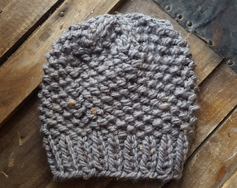 Grey Tweed Beanie