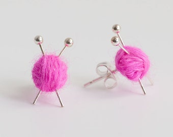 Knitting Needles & Ball of Wool Earrings - Pink yarn studs