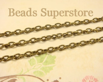 4 mm x 3 mm Antique Bronze Textured Cross Chain - Nickel Free and Lead Free - 3 meters (about 10 feet)