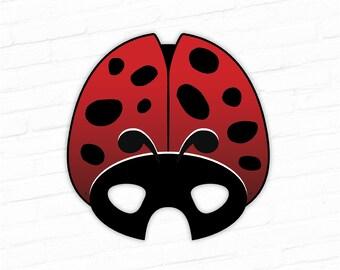 Ladybug Printable Insect Mask, Ladybird, Red Beetle Printable Costume Prop, Theater, Play, Photo Booth, Birthday Party, Halloween, Wedding