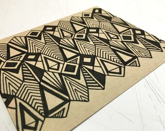 "Hand Drawn Original Geometric Art, Modern Tribal Art, Unique Op Art, One of a Kind, Hand Drawn - ""050"""