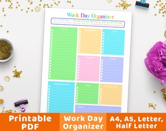 Work Day Organizer Printable, Business Planner, Work Day Planner, Daily Planner, Daily Schedule, Work Plan Printable, Productivity Planner