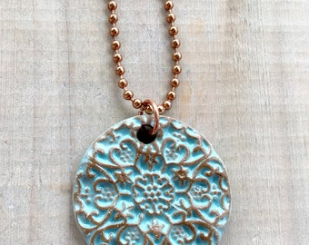 Turquoise Medallion Necklace-Porcelain-Stoneware-Jewelry-Kim OHara Designs-Ceramic Jewelry
