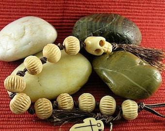 Bone Skull Knotted Prayer Beads - Paternoster - Tenner - Memento Mori