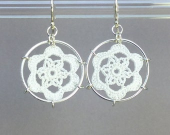 Peony doily earrings, white silk thread, sterling silver