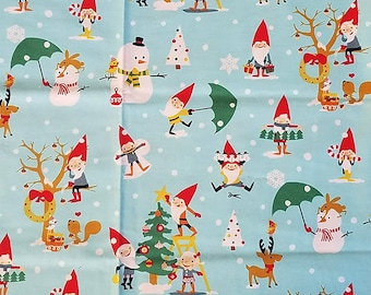 Gnome for the Holidays , Michael Miller, 100% Cotton Quilting Fabric Apparel, Fabric by the Yard