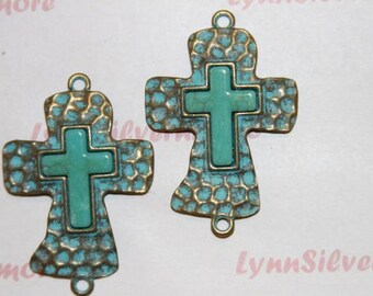 2  pcs per pack 55x37mm Patina Hammered Cross Link with Turquoise  Lead Free