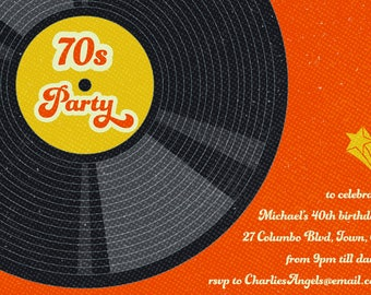 1970s party invite 70s party invitation seventies party