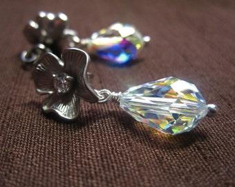 Swarovski AB Crystal Teardrop and Silver Flower Post Earrings