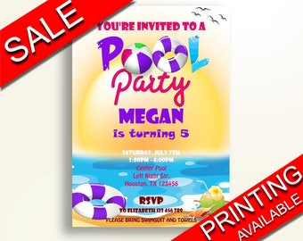 Pool Birthday Invitation Pool Birthday Party Invitation Pool Birthday Party Pool Invitation Girl purple pool party summer birthday 43DG9