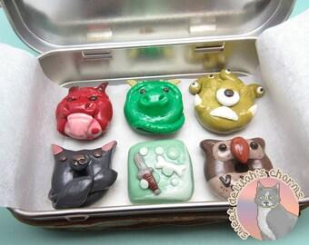 Tabletop Monster Donut Set - Recycled Altoids Tin - Tabletop D&D Miniature