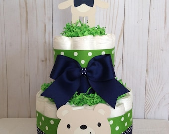 Teddy Bear diaper cake/Boy baby shower centerpiece/navy blue and green diaper cake/Bear diaper cake