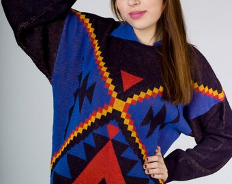 Vintage 80s Bianca Nygard Black Blue Red Yellow Tribal Nautical Geometric Triangle Print Knit Sweater (sz S M)