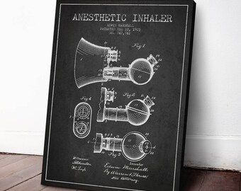 1903 Anesthetic Inhaler Patent Canvas Art Print, Medical Patent,  Wall Art, Home Decor, Gift Idea, PFHC61C