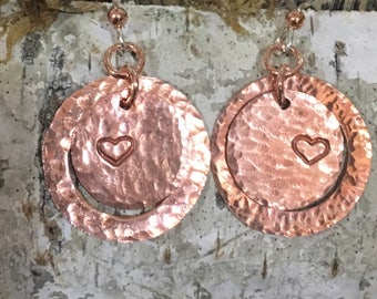 Hand stamped circle forged earrings