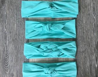 Mint Headband, mint turban, mint top knot, mint knot headband, baby headband, mommy and me, baby shower gift, bridesmaid gift