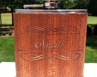 Etched 6oz Stainless Personalized Wood Flask  by Jackglass on Etsy