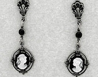 Handcrafted Silver Plated Vintage Style Black Jet Crystal Cameo Post Earrings