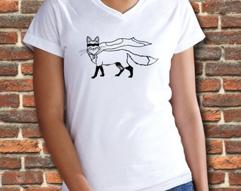 Superhero, Fox Shirt, Women's v neck, V neck shirt, Womens tshirts, Animal Shirt, Funny shirt, Foxy, Fox Mask, Animal Print, Red fox