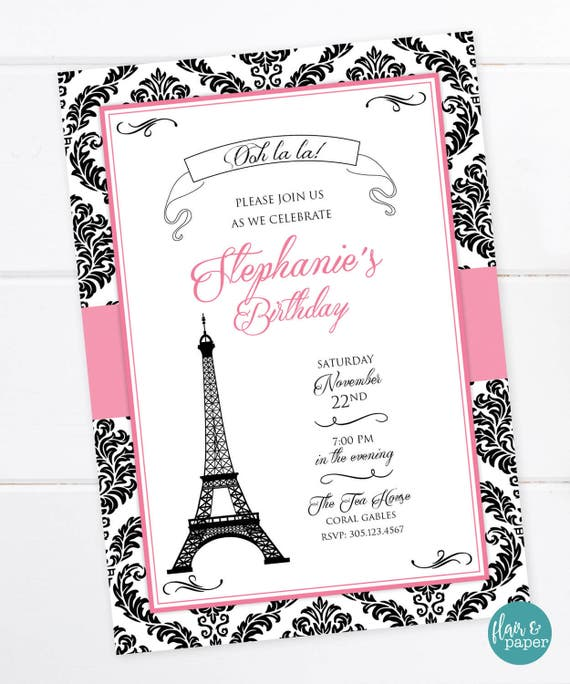 Parisian Birthday Invitation French Party Paris Oh la la