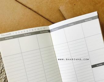 Vertical Weekly Standard Traveler's Notebook Insert, Week Diary Notebook, TN Weekly Refill, A5 Notebook, Traveler's Journal, Planner Inserts