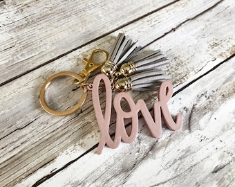 Love Keychain with 3 Mini Tassels   Love   Gold or Silver Accent   Multiple Color Options   Valentines Keychain   Girly Gift   Leather
