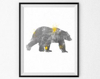 Grey Nursery Art Print - Bear Watercolor Painting - Child's Room - Children's Art - Nursery Canvas - Nursery Painting