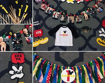 Mickey Mouse Clubhouse Themed Birthday Party - Banner, Highchair Garland, Cupcake Toppers, Photo Display, Custom Shirt, Invites, Centerpiece