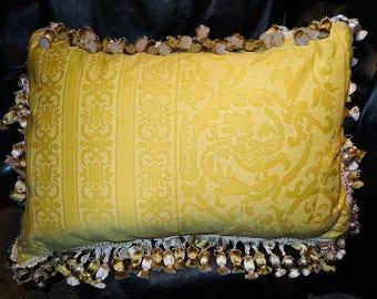 Large Fortuny Pillow Pair, Designer Vintage.  Farnese Frieze Pattern.  Handmade Pair No. 2