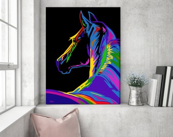 Horse wall art, gift for horse lover, horse, horse art, horse canvas, pop art, horse painting, pop art canvas, horse gift, pop art horse