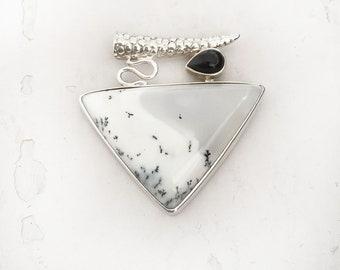 Merlinite Pendant, Silver Handmade Pendant, 925 Sterling Silver, Dendrite Agate Pendant, Agate silver jewelry Black Onyx Silver pendant